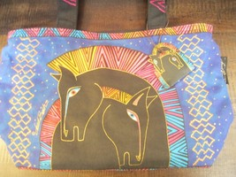 Laurel Burch Embracing Horses Medium Tote Purse Handbag Canvas with Wood... - $32.23