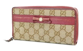 bfd0a70a8e86 Auth GUCCI Brown GG Canvas and Purple Leather Long Wallet Coin Purse #31.