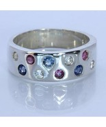 Red White and Blue Natural Gems Handmade Sterling Silver Unisex Ring size 7 - $75.05