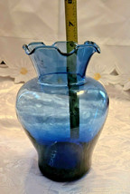 "Vintage Ruffled Collar Blue Glass Vase 6"" by 6"" image 2"