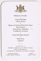 British Columbia Government House Menu Dinner Prince Philip & Prince Andrew - $18.99