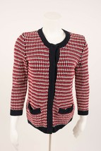 Talbots Women's Petite Cardigan Sweater PS Small  Red White Blue Knit Pa... - $19.79