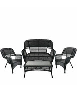 Northlight 4 Black Steel Resin Patio Furniture Set - Loveseat 2 Chairs T... - $647.20