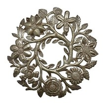 "Small Floral Wreath Drum Sculpture Haitian Metal Art 14"" X 14"" - $42.29"