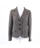 Black brown striped tweed TRIXI SCHOBER long sleeve button down blazer j... - $44.99