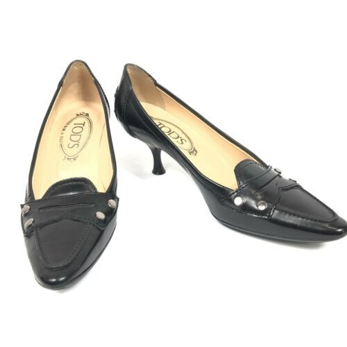 a60eea4b8b3 Tod s Leather Kitten Heel Pumps Size 5 Black and 47 similar items. 12