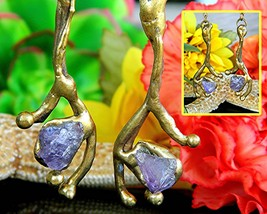 Vintage Brutalist Earrings Freeform Brass Amethyst Brazil Drop Pierced - $74.95
