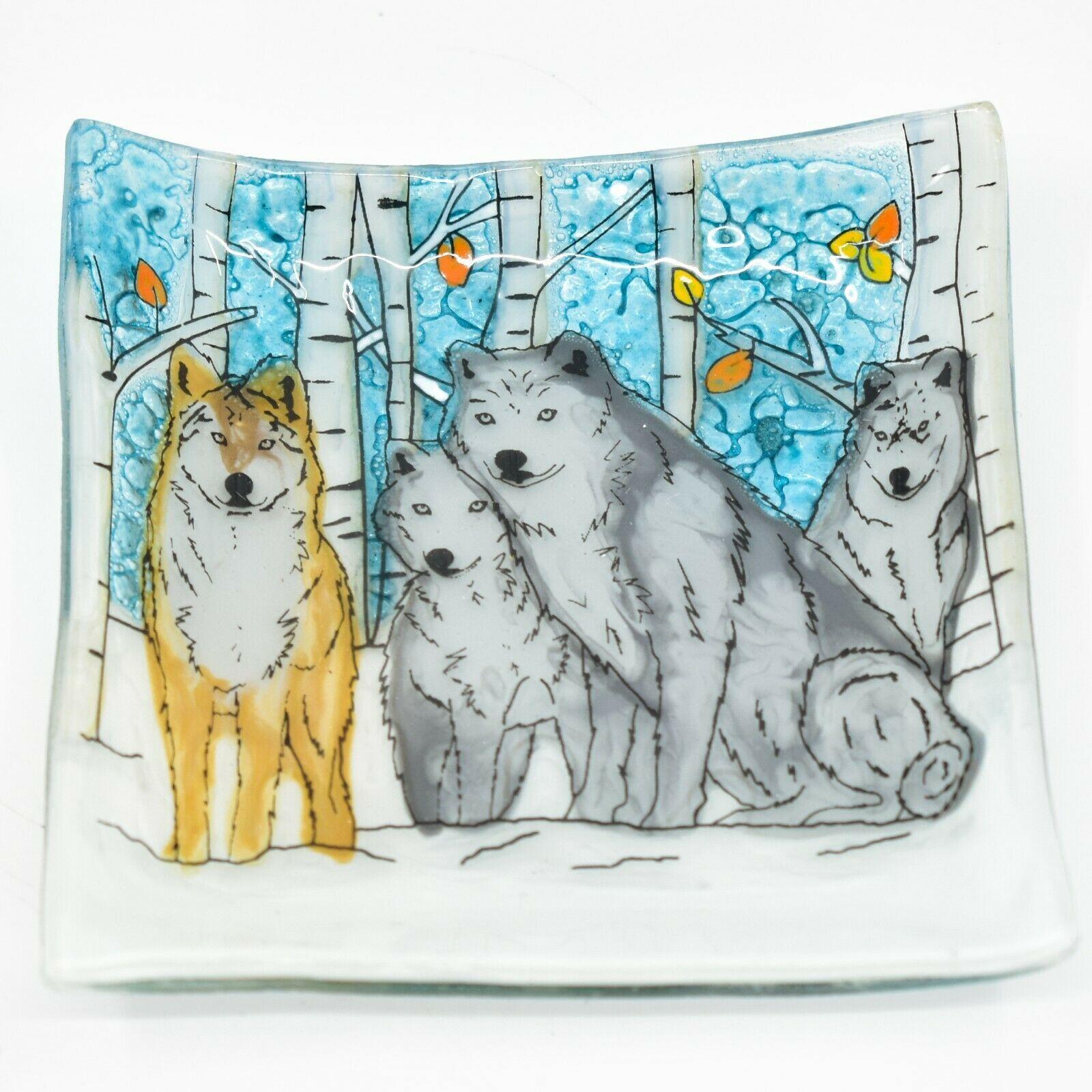 Fused Art Glass Winter Aspen Wolf Pack Design Square Soap Dish Handmade Ecuador