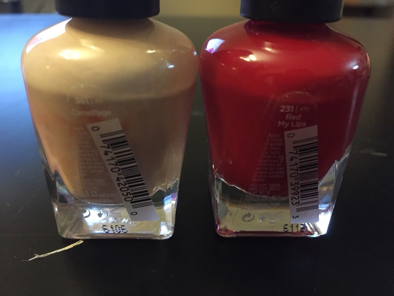 2 New Sally Hansen Salon Manicure Nail Polish .5 Fl Oz Camelflage & Red My Lips