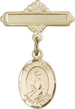 14K Gold Filled Baby Badge with St. Louis Charm Pin 1 X 5/8 inch - $87.10
