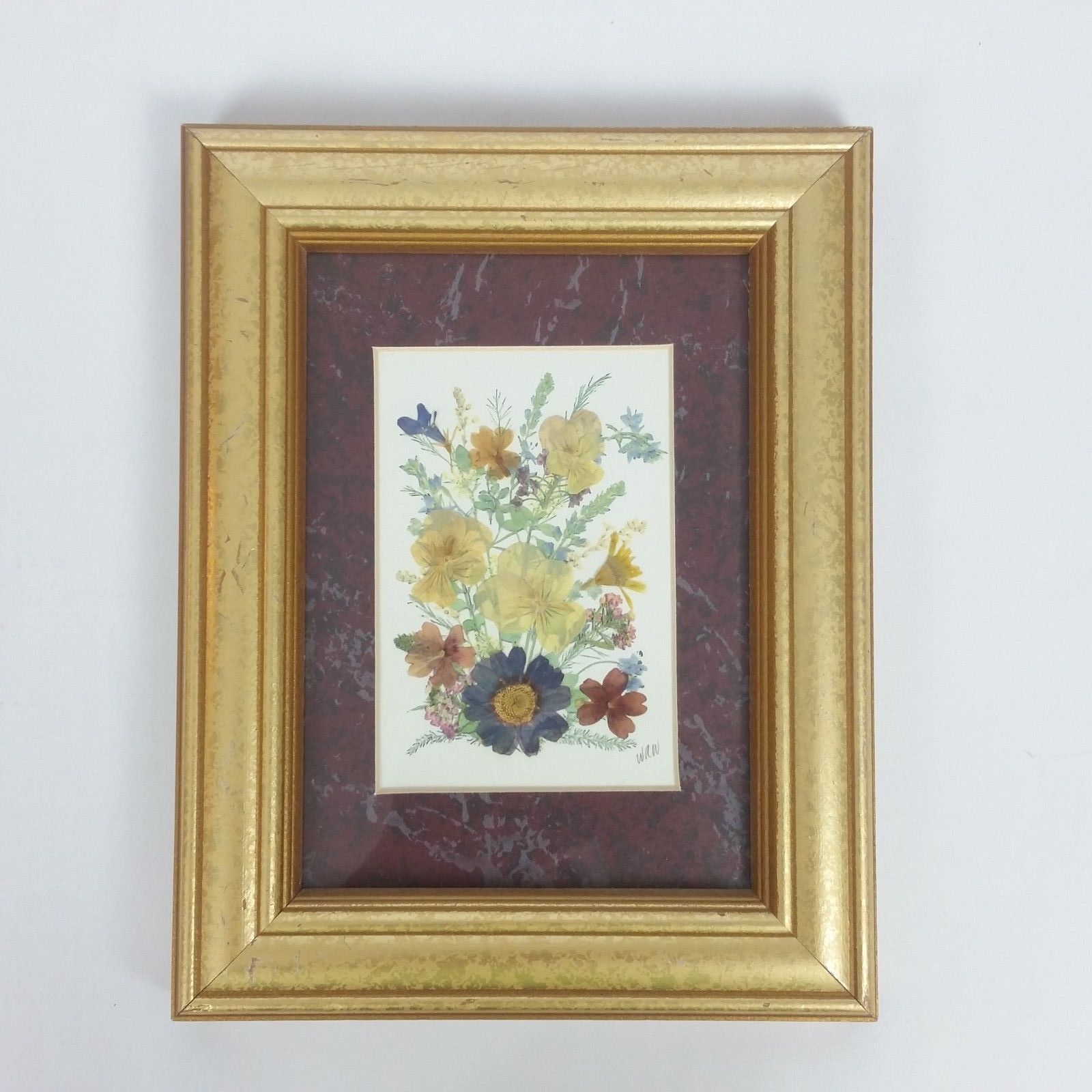 Framed Pressed Dried Flower Art Picture Mixed Media Collage Signed