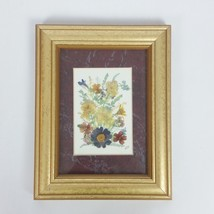 Framed Pressed Dried Flower Art Picture Mixed Media Collage Signed - $28.01
