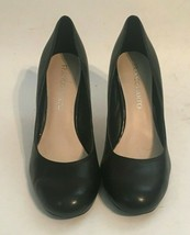 "Franco Sarto Black Leather Slip On Round Toe Shoes Stiletto 3"" Heels siz... - $30.81"