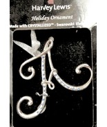 Initial A Ornament Silver Tone with Blue Crystals 3 Inch Harvey Lewis Boxed - $12.87