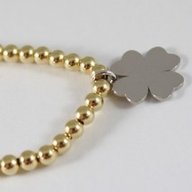 Yellow Gold Bracelet White 750 18k with balls and clover, 19 cm image 2