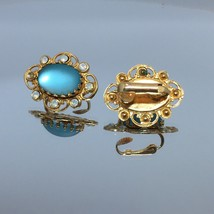Vintage Clip On Earrings Gold Tone Frosted Light Blue - $12.55