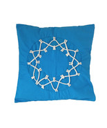 Teal Blue Loop and String Cotton Pillow Sham Cover - $19.99+