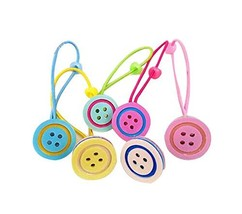 Set of 12 Cartoon Design Hair Tie Bands Rubber Ropes Hair Rings, Buttons Style image 2