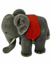 Steiff Elephant Mohair Plush Silver Button Tusks Curved Trunk Red Blanke... - $78.00