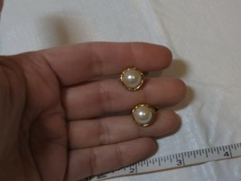 Vintage snap clip on gold earrings round pearl white ladies non pierced antique - $10.68
