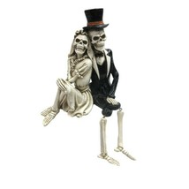 Pacific Giftware Day of The Dead Skeleton Wedding Couple Shelf Sitter Fi... - $23.75