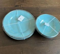 Tommy Bahama Set of 18 BLUE Melamine Plates 8 Dinner 8 Salad & 2 Serving... - $154.63