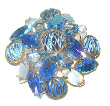 VINTAGE BLUE ART GLASS RHINESTONE GIVRE DIFFERENT SHADES GOLD TONE BROOC... - $115.00