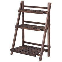 3 Tier Outdoor Wood Design Folding Display Flower Stand - $115.17