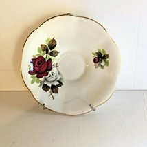 Replacement Royal Dover Bone China Saucer Ruby & White Roses Made in Eng... - $7.43