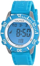 Nautica Light Blue Digital Watch Rubber Silicone Strap Indiglo N09929G NSR 100 - $44.17