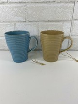 2 Starbucks 2009 Blue and Tan Ribbed Coffee Mugs Cups by Design House St... - $39.95