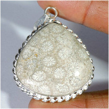 Natural Fossil Coral Cabochon Silver Plated Pendant Jewelry Gemstone A37-94 - $11.99