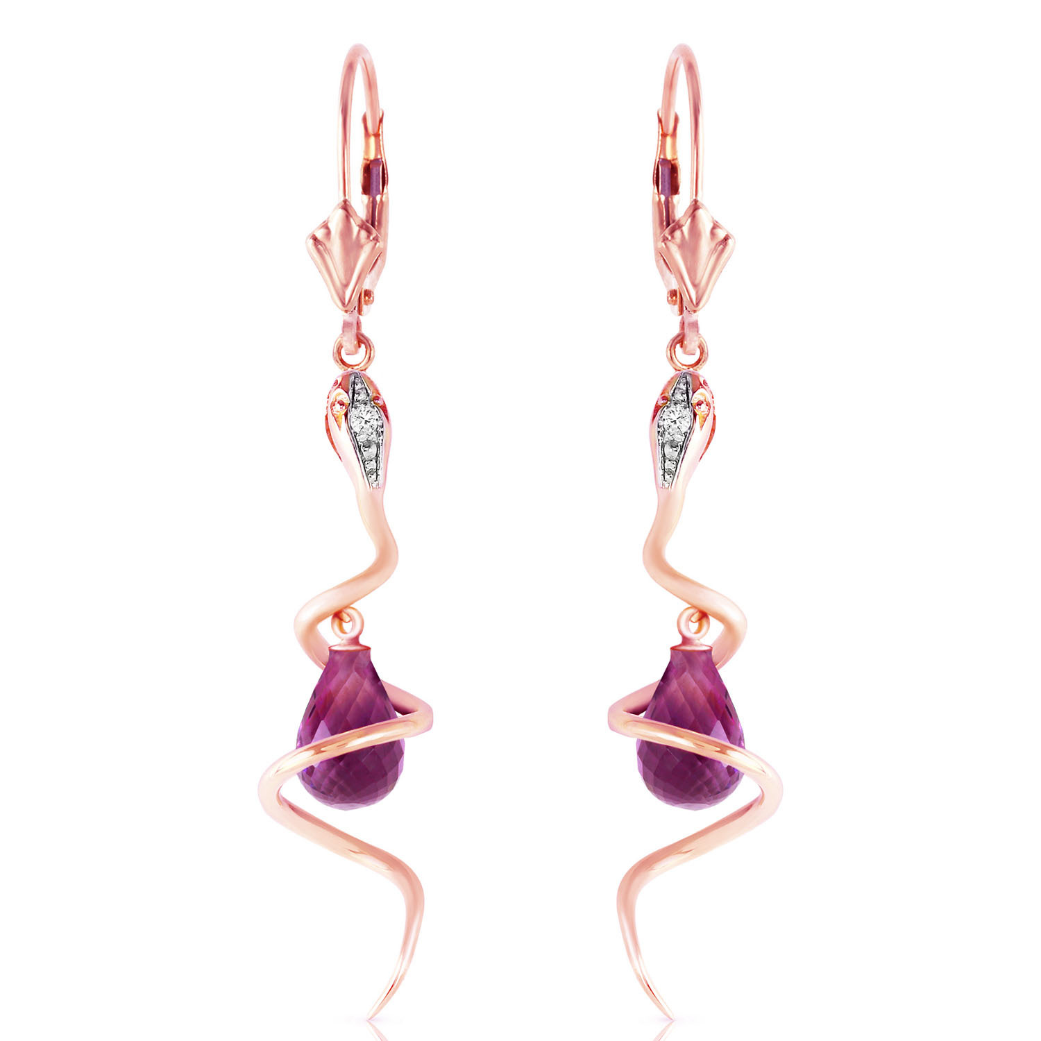 Primary image for 14K Solid Rose Gold Snake Earrings with Dangling Briolette Amethysts & Diamonds