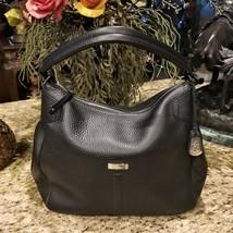 COLE HAAN Village Black Pebble Leather Rounded Hobo Shoulder Bag - $169.95