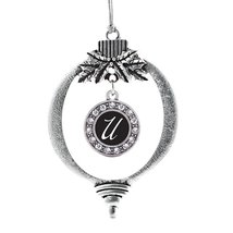 Inspired Silver My Script Initials - Letter U Circle Holiday Decoration ... - $14.69