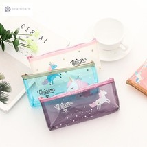 Unicorn Design Multi Color Transparent Pencil Case Stationery Storage Or... - $7.37
