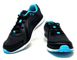 Ryka Aries Athletic Memory Foam Sneakers Leather/Fabric Black/Blue Women... - $29.99