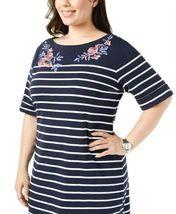 Karen Scott Plus Size 2X,3X Dress Floral Embroidered Striped Shift Dress NEW $54 image 3