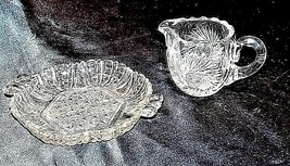 GlassCreamer and Serving Tray with Detailed AA18-11894VintageHeavy Etched image 2