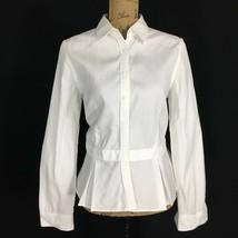 NEW Ralph Lauren Shirt 6 Med Crisp White Long Sl Peplum Pleat Button Fro... - $44.95