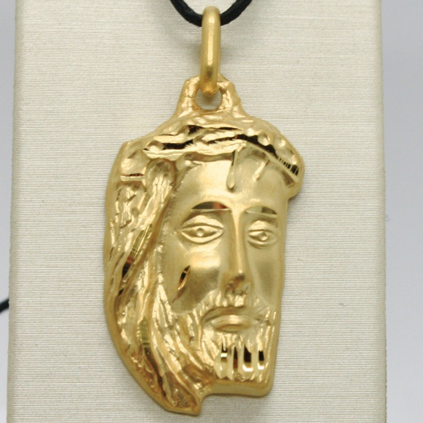 18K YELLOW GOLD JESUS FACE PENDANT CHARM 42 MM, 1.6 IN, FINELY WORKED ITALY MADE