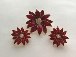 SFJ Enameled Red Poinsettia Christmas Holiday Brooch Matching Clip Earri... - $14.80