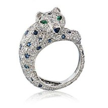 Cartier Platinum Sapphire and Diamond Panther Pave Ring Size: 6 - $73,800.99