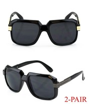 Classic Square Plastic Silver & Gold Black Frame Men Women Aviator Sungl... - $7.87+
