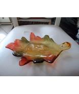 Amber, green, orange glass fall leaf candy serving dish - $23.00