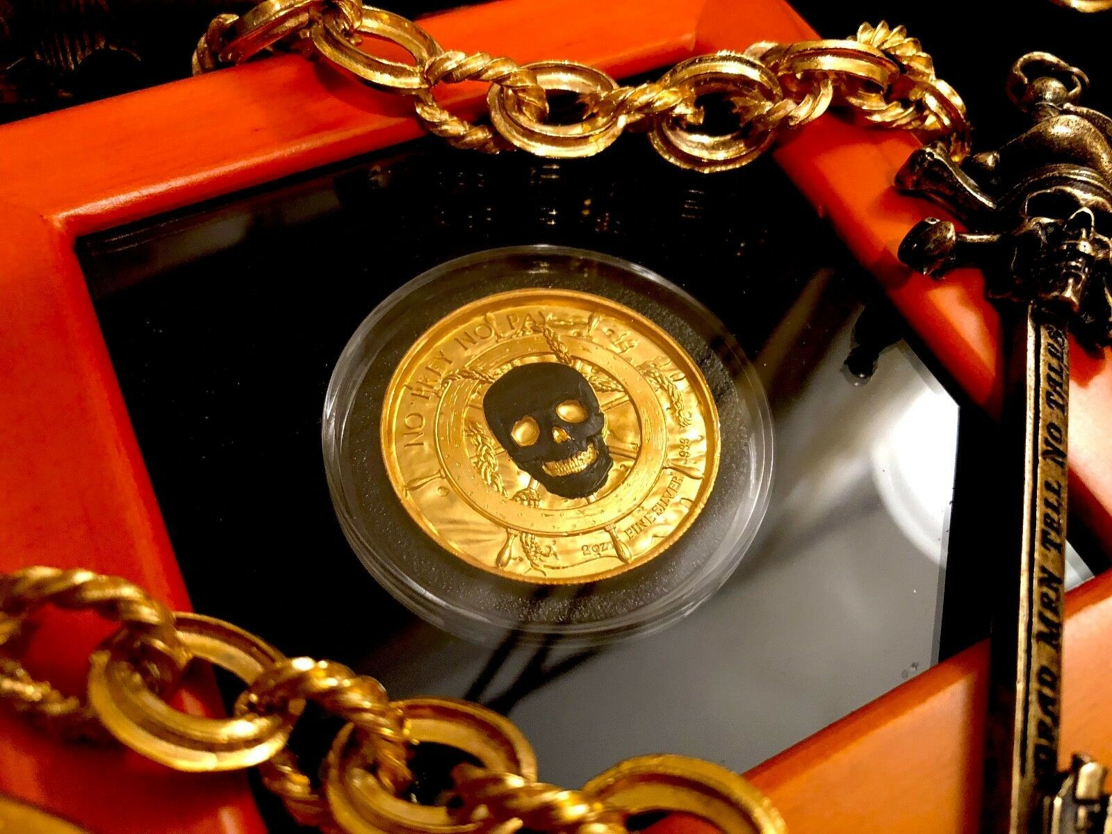 """GOLDEN SKULL COIN SHIP~ 2oz PURE SILVER PLATED 24KT GOLD COIN """"GIANT SQUID"""" REV."""