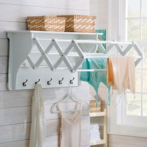 Laundry Room Wall Mount Clothes  Drying Rack ACCORDIAN Shelf Hooks Class... - £93.00 GBP