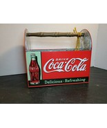 Coca-Cola Collectible Metal Caddy Tin Carry case  4 slots Utensil Wood Handle - $48.79