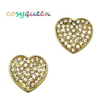 Gorgeous new gold diamante pave love heart stud pierced earrings - $21.48 CAD