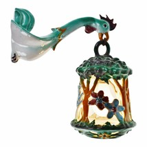 Vintage Hand Painted Italian Ceramic Rooster Lantern Wall Sconce - $895.00